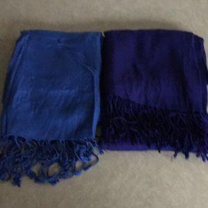 "2 Large Rayon scarfs, blue & dark Navy, 26x66"""